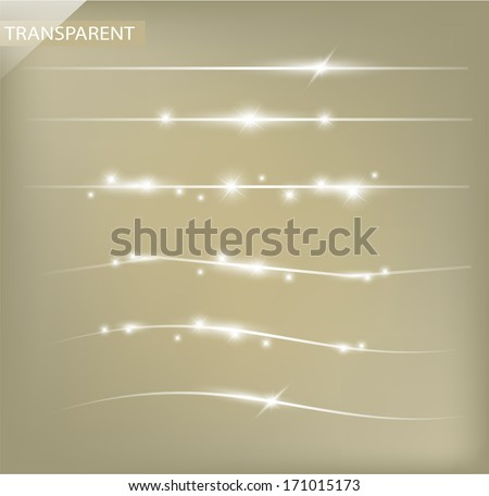Beautiful set of decorative dividing sparkling lines with transparency VECTOR