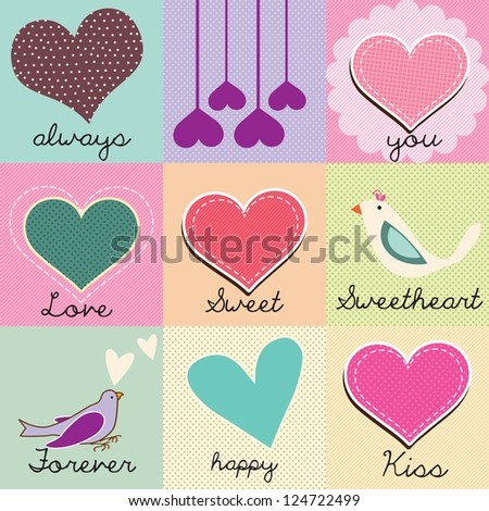 Beautiful set of hearts and love messages, colorfull checkered background