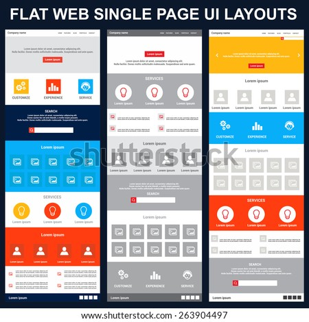 beautiful set of One page website design template in flat color style. vector illustration