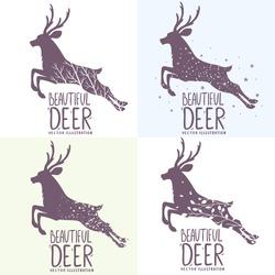 Beautiful set of various grunge silhouette deer in jumping. Vector illustration