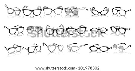 Beautiful Set of Vintage and Modern Glasses (vector illustration)
