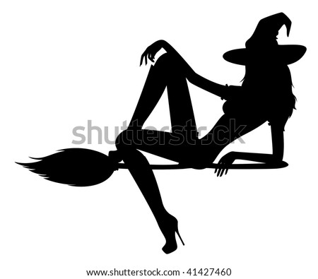 beautiful sexual witch sits on a broom