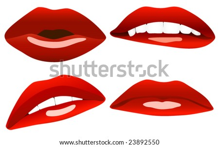 Beautiful sexy lips vector collection.