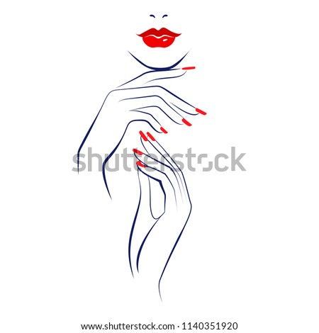 Beautiful sexy red lips, hand with red manicure nails, element design, nails studio. Beauty Logo. Vector illustration