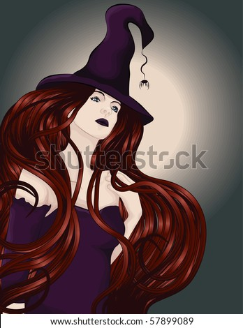 stock vector beautiful sexy witch with long red hair and hat 57899089 Fake Celebrity Porn   Jennifer Aniston