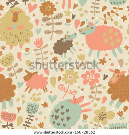 Beautiful sheep in hearts and flowers. Cute childish seamless pattern in vector. Seamless pattern can be used for wallpapers, web page backgrounds, surface textures. Gorgeous vector background