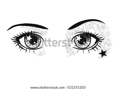 beautiful shining eyes vector