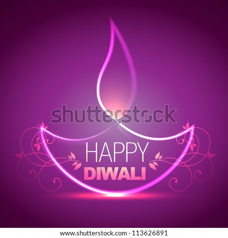 beautiful shiny diwali diya vector background