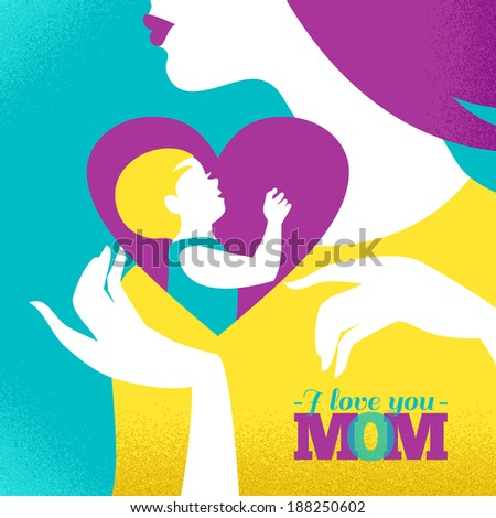 Beautiful silhouette of mother and baby in heart Card of Happy Mother's Day