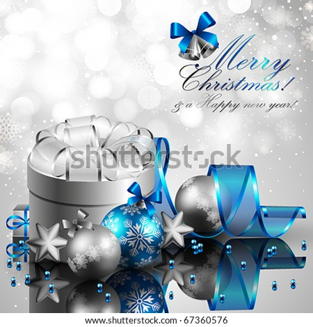 beautiful silver and blue christmas background