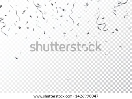 Beautiful silver confetti and ribbon , isolated on transparent background