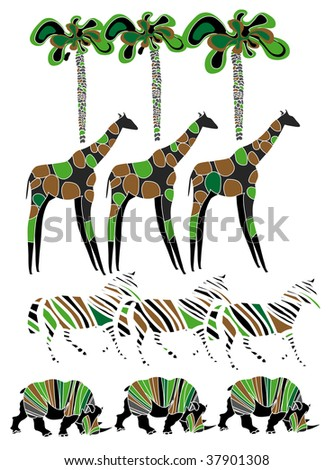 beautiful simple designs on the theme of wildlife and Africa