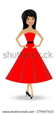 beautiful  slender woman in red