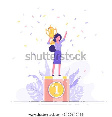 Beautiful smiling businesswoman is standing on a winners pedestal  with a golden cup and confetti around. Modern vector illustration.
