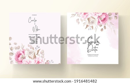 Beautiful soft peach and brown floral wedding invitation template
