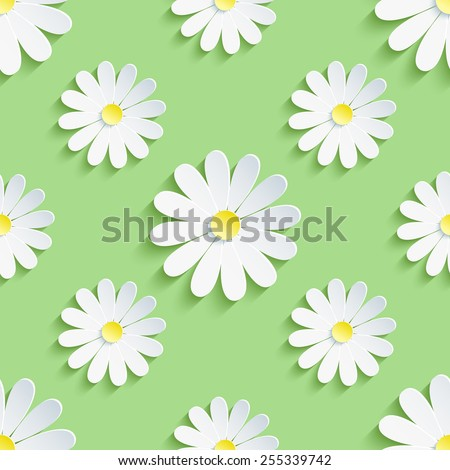 Beautiful spring background seamless pattern green with white 3d flower chamomile. Floral trendy creative wallpaper. Vector illustration