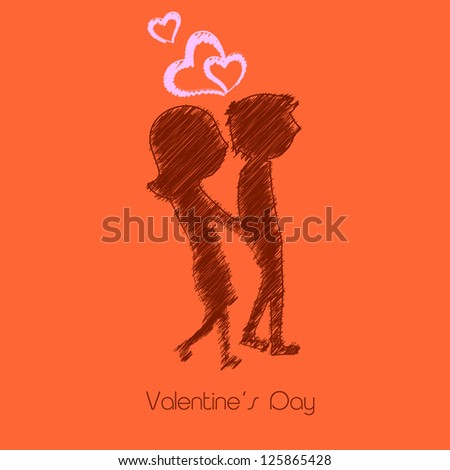 Beautiful St. Valentine's Day background, gift or greeting card with silhouette of couples holding hands. EPS 10.