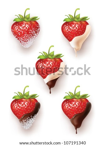 beautiful strawberries in chocolate and sugar with coconut. a lot of options. vector realistic illustration