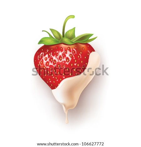 beautiful strawberries in white chocolate. vector illustration of a realistic