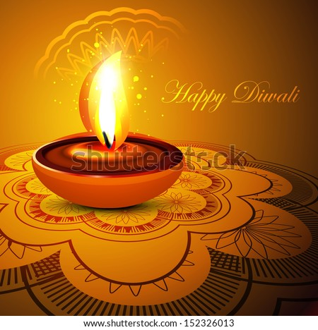 Beautiful stylish rangoli happy diwali colorful festival background vector