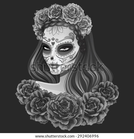 beautiful sugar skull woman