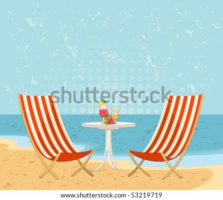 Beautiful summer beach. Vector illustration in retro style