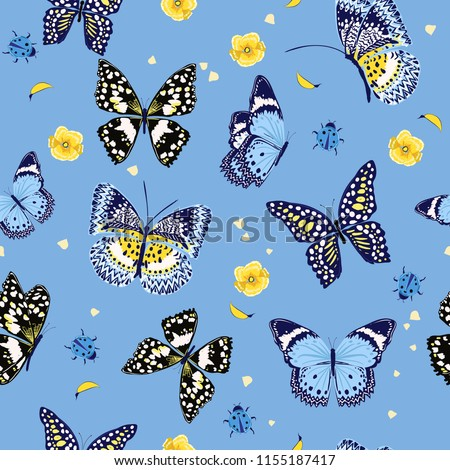 Beautiful summer butterflies flying ,lady bug,insect seamless pattern vector scattered repeat for fashion ,fabric ,wallpaper and all prints on sky blue background color