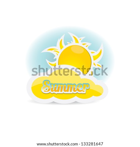 beautiful summer illustrations . vector summer label. summer icon with sun and clouds.