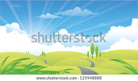 beautiful summer landscape with hills and road