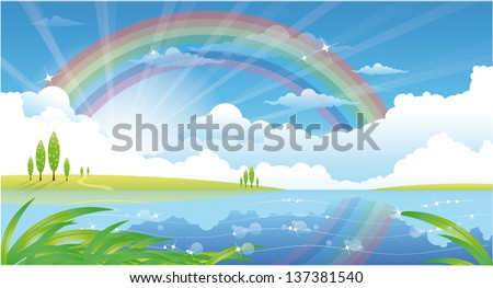 beautiful summer landscape with river and rainbow