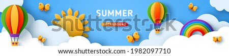 Beautiful summer scenery, fluffy clouds on blue sky background with sun, butterfly, hot air balloons and rainbow. Vector illustration. Paper cut style banner or header. Place for text