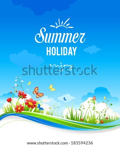 Beautiful summer scenery with flowers and butterflies. With place for text.
