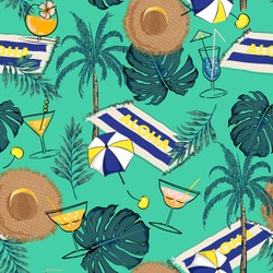 Beautiful Summer vacation holiday colorful and bright color icons in hand drawn style for fashion fabric and all print seamless pattern vector on gren mint background