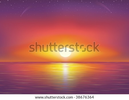 Beautiful Sunset and stars at the seaside