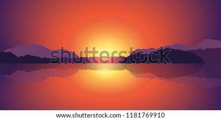 beautiful sunset lake and