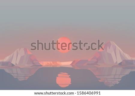 beautiful sunset landscape in