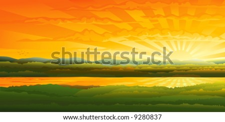 Beautiful sunset over a river (other landscapes are in my gallery) - stock vector