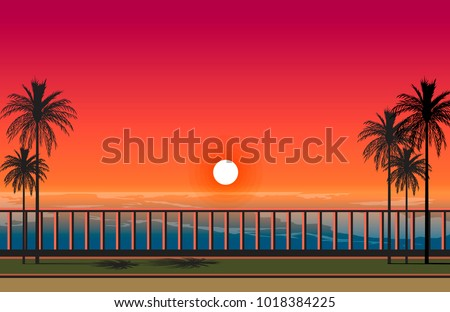 beautiful sunset sea scenery vector illustration. palm trees on the boulevard and glowing sky