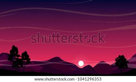 beautiful sunset sky over hills