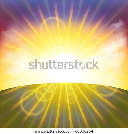 Beautiful sunset vector. Format 10 eps
