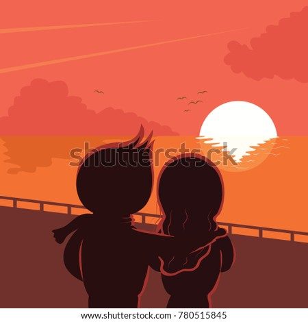 beautiful sunset with a couple