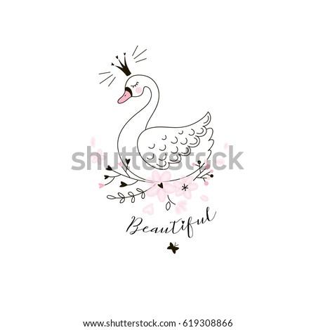 beautiful swan princess  doodle