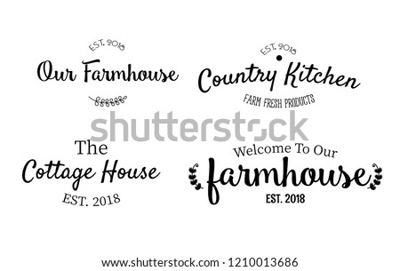 Beautiful sweet home decor printable vector illustrations set