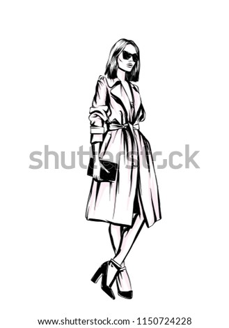 Beautiful, tall and slender girl in a stylish coat. Stylish woman. Fashion & Style. Vector illustration.