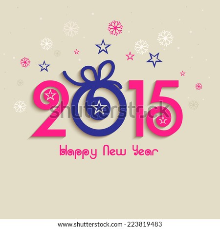 Beautiful text 2015 decorated with Xmas ball on stars and snowflakes decorated background for Happy New Year celebrations.