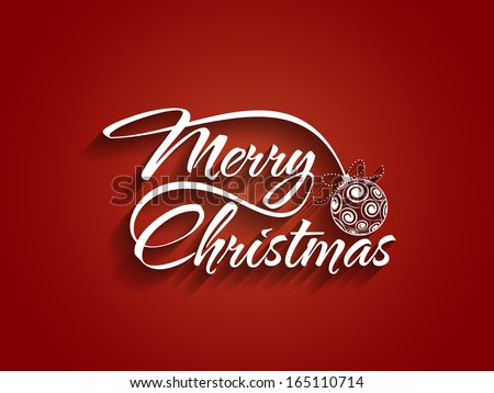 Stock Photo Beautiful text design of Merry Christmas on red color background. vector illustration
