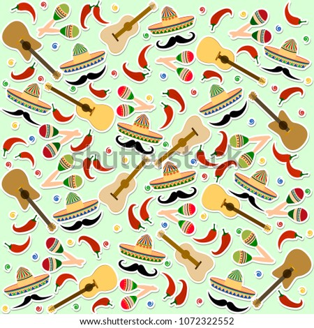 Stock Photo Beautiful textured background for holiday Independence Day May 5 for banner, logo, postcard, menu. Mexico, cinco de mayo, musical instruments, maracas, hat, sombrero, guitar, chili, mustache, vector
