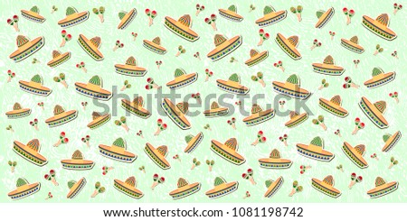Stock Photo Beautiful textured background for the holiday cinco de mayo banner, logo, postcard, menu. Mexico, musical instruments, maracas, hats, sombrero, guitar, chili, mustache, cactus, colorful. vector eps10.