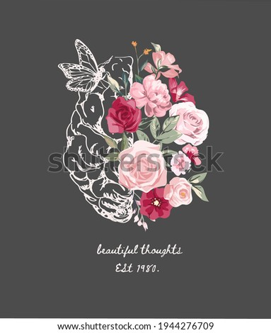 beautiful thoughts slogan with hand sketch brain and colorful flowers vector illustration Сток-фото ©