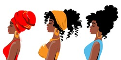 Beautiful three african american girls in profile with different hairstyles on a white background. Vector illustration of people isolated